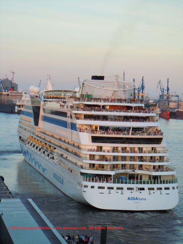 Cruiseship MV AIDAluna (2,030 berths, built at Meyer Werf in 2009) at Hamburg Cruise Terminal in May 2014