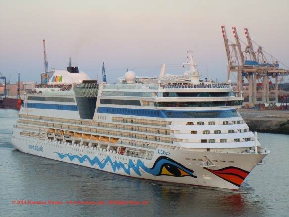 Cruiseship MV AIDAluna (2,030 berths, built at Meyer Werft in 2009) at Hamburg Cruise Terminal in May 2014