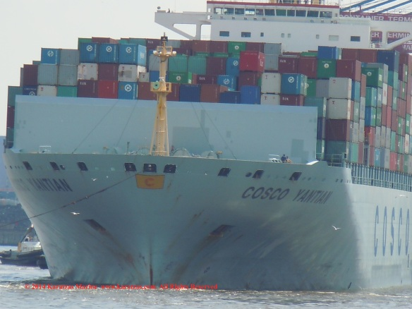 MV 'COSCO YANTIAN' 9,500 TEU Post-panamax containership built in 2006; Hamburg 2014
