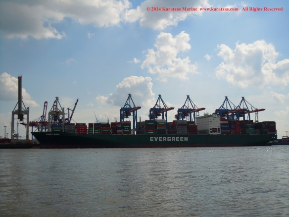 MV EVER LADEN (8,450 TEU Post-Panamax Fully Cellular Containership; May 2014 Hamburg Port Call)
