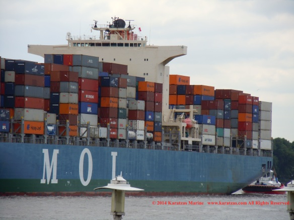 Post-panamax fully cellular containership MV MOL CHARISMA built at Mitsubishi Heavy Industries in 2007; 8,100 TEU