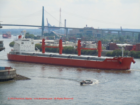 MV 'SANTA PAULINA' (64,000 DWT, Ultramax Drybulk Vessel, Shin Kurushina built in 2013; Hamburg, May 2014)