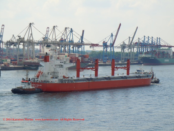 MV 'SANTA PAULINA' (61,500 DWT, Ultramax Drybulk Vessel, Iwagi Zosen built in 2013; Hamburg, May 2014)